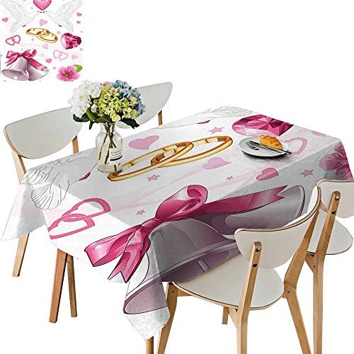 (UHOO2018 Square/Rectangle Polyester Tablecloth Table Cover Wedding Themed Artwork Invitation Announcement Hearts Rings Birds Pink White Gold for Dining Room,54)