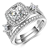 Solid Sterling Silver Bridal Wedding Band Engagement Ring Sets Cut Cubic Zirconia Rings