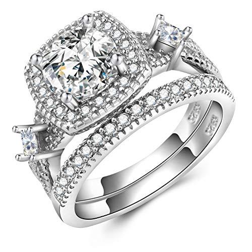 Solid Sterling Silver Bridal Wedding Band Engagement Ring Sets Cut Cubic Zirconia (Bridal Wedding Keychains)