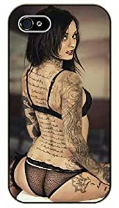 iPhone 5 / 5s Tattooed girl smile - black plastic case / Sexy Girl Black And White, Hot, tattoo