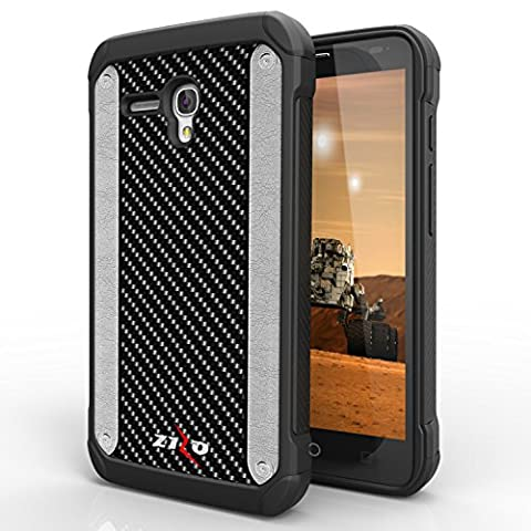 JITTERBUG SMART (5.5inch) Case, LUXCA Designed Armor [Shock Absorption] Drop Protection Hybrid Dual Layer Defender Cover for JITTERBUG SMART (5.5inch) (Carbon (Jitterbug Phone Cover)