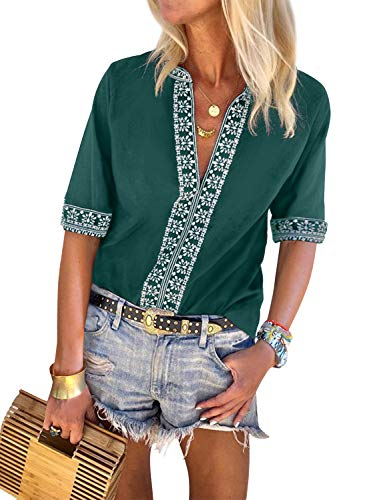 Embroidered Short Sleeve Work Shirt - FARYSAYS Women's Fashion 2019 Casual Summer Boho Printed Short Sleeve Sexy V Neck Tee Shirts Loose Blouse Tops Green Medium