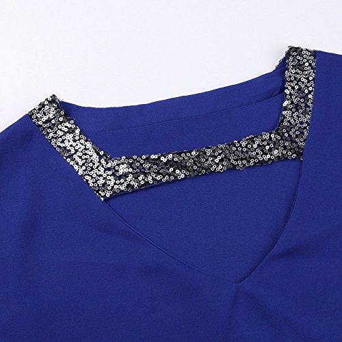 Vaina Ropa Cordón para Mujer Casual Sexy de Elegante Decorado Vestidos Grandes Vestidos de Vestir Tallas Playa Corto 2018 túnica Mujeres Camisa Lentejuelas con Vestido Verano Mujer Azul Vestido UIwaqC