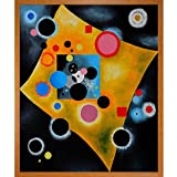 """20"""" X 24"""" Oil Painting On Canvas Hand painted oil reproduction of a famous Kandinsky painting, Accent en Rose. The original painting was created in 1926. Today it has been carefully recreated detail-by-detail, color-by-color to near perfection. Why s..."""