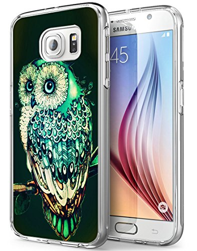 S7 Case, Gifun [Anti-Slide] and [Drop Protection] Soft TPU Clear Premium Flexible Protective Case Cover for Samsung Galaxy S7 W Green Owl