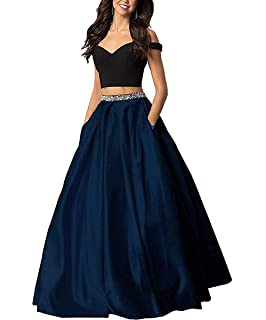 559a8e2127f427 Sophie Women's Long Off The Shoulder Two Piece Beaded Prom Dress Satin Evening  Gowns Formal with