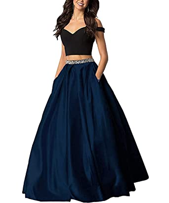 c3b3f3e8419 Sophie Women s Long Off The Shoulder Two Piece Beaded Prom Dress 2019 Satin  Evening Gowns Formal