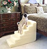 Pet Stairs Petstairz 6 Step High Density Foam Pet Step and Pet Stair with Beige Removable and Washable High Curly Pile Shearling Cover for Pets up to 50 Lbs.Please Take Into Consideration Your Pets Health, Agility. Gate Stability, Paw Length and weight prior to Ordering. Please Call Us with Any Questions or Concerns Prior to Ordering for proper guidance and Remember to Measure Your Placement Area Carefully!