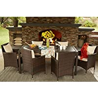 Handy Living Aldrich Brown Indoor/Outdoor 7 Piece Rectangle Dining Set with Beige Cushions