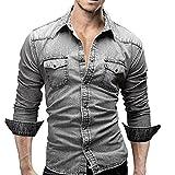 Ba Zha Men's Shirts Retro Denim Shirt Cowboy Blouse Slim Thin Long Tops Casual Coat Outwear Holiday Camping Hiking Tops Men Boys Casual Slim Sports Tees Long Sleeved Beach T-Shirt Blouse (XXXL, Gray)