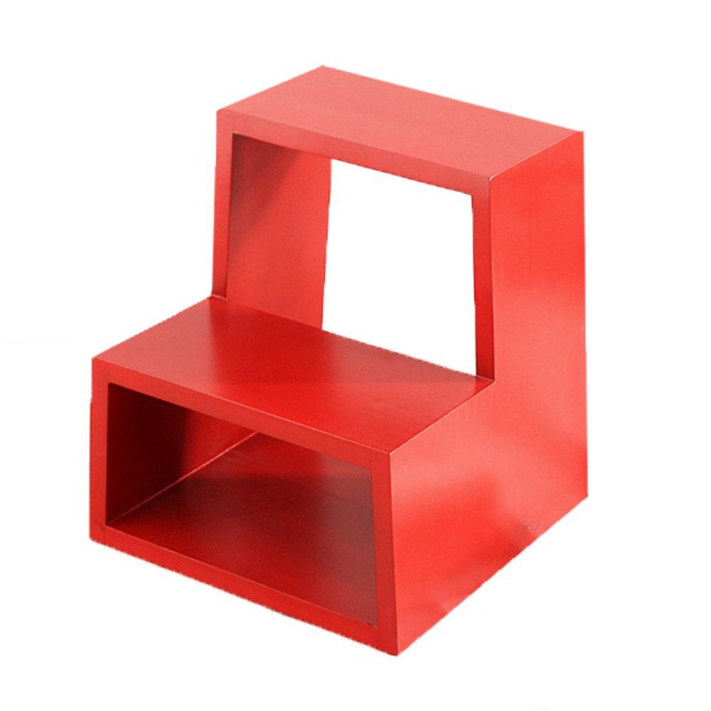 TH ラダースツールソリッドウッドスツール家庭用ストレージスツールホールシューズベンチファッション階段スツール戸口靴ベンチ (色 : 赤) B07DZ46BWW 赤 赤