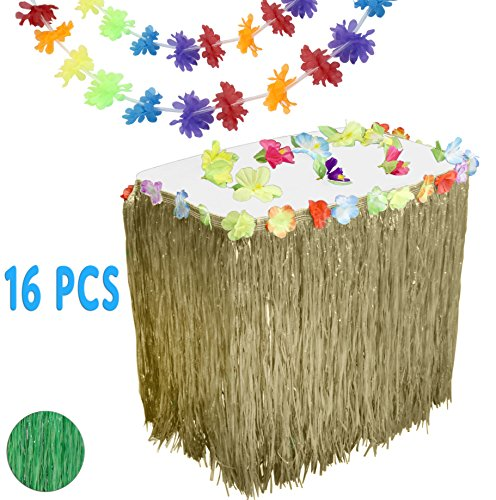 Luau Hawaiian Party Supplies Set w/ 9' Natural Color Grass Table Skirt, 12 Hibiscus Blossoms, & 3 Long 9' Flower Lei Garlands