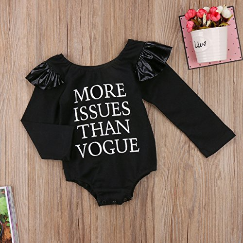 Miward Unisex Xmas Baby Boy Girl More Issues Than Vogue Print Ruffle Long Sleeve Romper Autumn Outfit