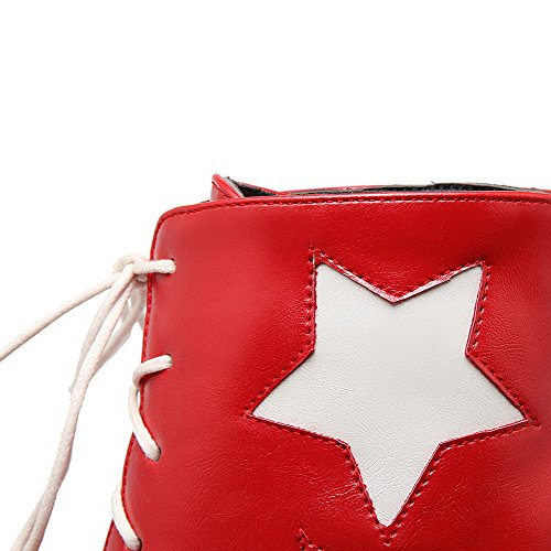 AllhqFashion Mujeres Caña Baja Cordones Material Suave Puntera Redonda Botas Rojo