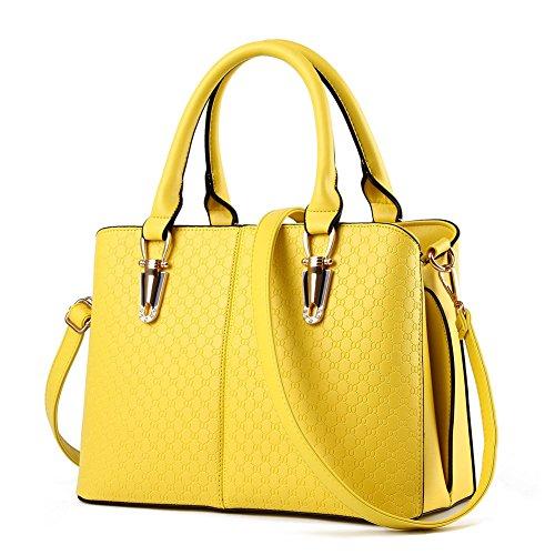 JHVYF Casual Top Handle Handbag Purse Satchel Pu Leather Shoulder Bag Women T Yellow