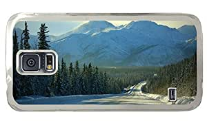 Hipster Samsung Galaxy S5 Case amazing cover winter forest road PC Transparent for Samsung S5