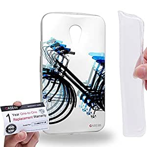 Case88 [Motorola Moto G (2nd Gen.)] Gel TPU Carcasa/Funda & Tarjeta de garantía - Art Fashion Blue Psychedelic Bicycle Art1330