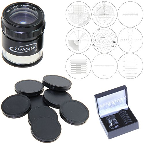 iGaging 36-LED10-9 Stand Measuring Magnifier Comparator, 7 LED Lighted Loupe 10X with 9 Reticles Scale - Magnifier Loupe Stand