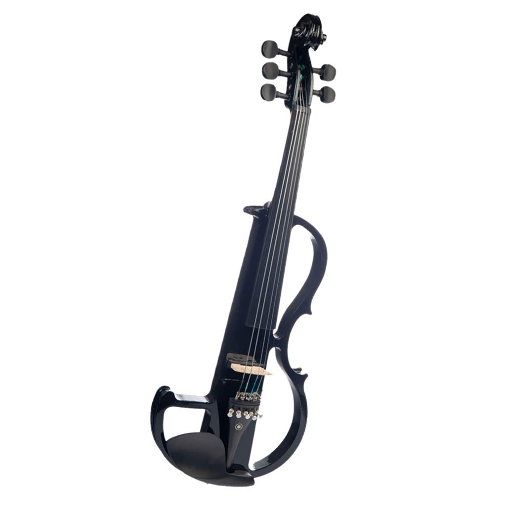 D DOLITY 1 Set Solid Wood 5 String Electric Silent Violin Fiddle for Violinist Beginners, Black
