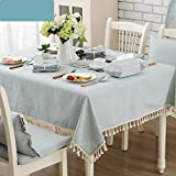 HOMEE Simple modern linen tablecloths rectangular tablecloth fabric tassel tablecloth Christmas decorations,C,140X220cm