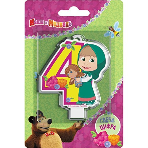 Masha and the Bear Сandle on a Cake Topper 4 Years Must Have Accessories for The Party Supplies and Birthday Masha y el OSO para niños