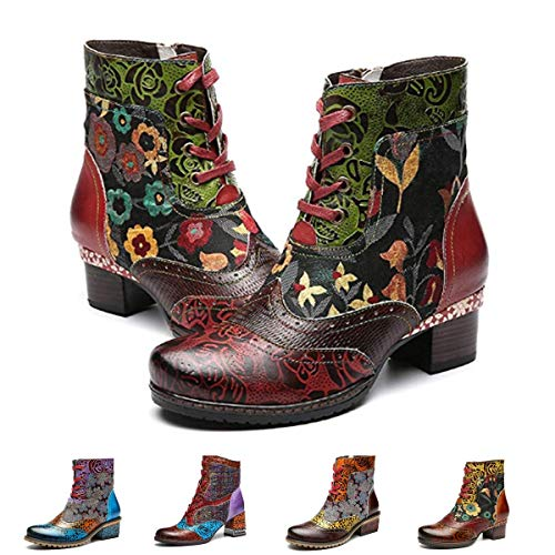 gracosy Ankle Bootie for Women, Leather Boots Vintage Fashion Short Boots Side Zipper Floral Pattern Red 8 M US