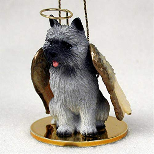 Ky & Co YesKela Cairn Terrier Ornament Angel Figurine Hand Painted Gray