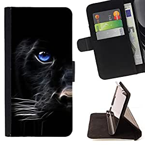 Blue Eye Panther Face - Painting Art Smile Face Style Design PU Leather Flip Stand Case Cover FOR HTC One M7 @ The Smurfs