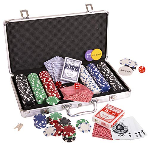 Kangaroo Poker Chip Set, Poker Chips (300/11.5 gr), Color Dice (5), Playing Cards (2) Aluminum Case w/Key (1), Buttons (3) (Aluminum 300 Chip Case)