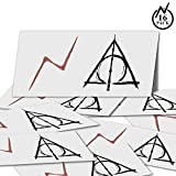 YoHold Lightning Bolt Tattoos and Deathly Hallows Tattoos for St Patrick's Day, Halloween Theme Party Decorations, Each of 16 Pack