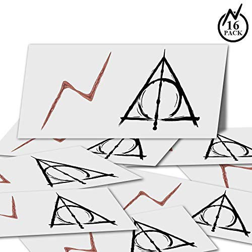 YoHold Lightning Bolt Tattoos and Deathly Hallows Tattoos for St Patrick's Day, Halloween Theme Party Decorations, 32 -
