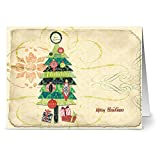 24 Holiday Cards - Happy Holiday Tree - Blank Cards - Green Envelopes Included