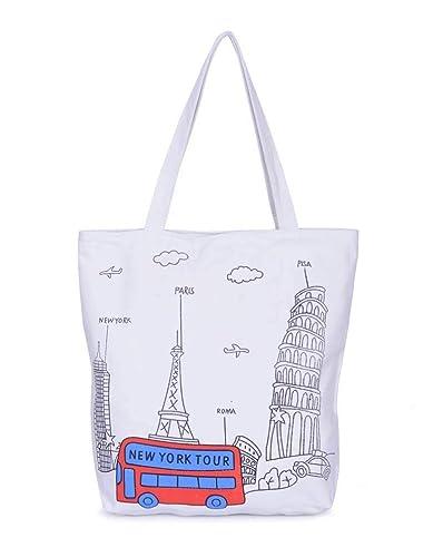 3767b52a94e4 Amazon.com: Canvas Tote Bag Casual Beach HandBag Eco Shopping Bag Daily Use  Foldable Canvas Shoulder Bag Plaid Canvas Tote for Women Female Color 4 ...