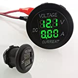uniquegoods Digital Multimeter Voltmeter Socket for Boat Marine Vehicle Motorcycle Truck ATV UTV Car Camper LED Round Panel Green