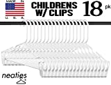 Neaties Children's White Plastic Hangers w/Clips, USA Made Long Lasting Tubular Hangers, Set of 18