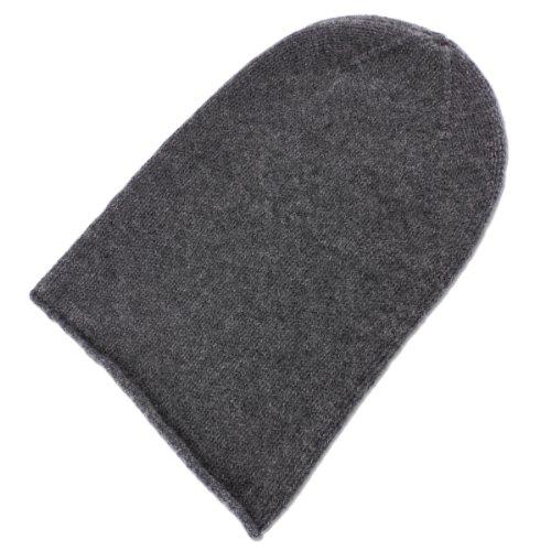 Love Cashmere Mens 100% Cashmere Beanie Hat - Dark Gray - Hand Made in Scotland RRP $120