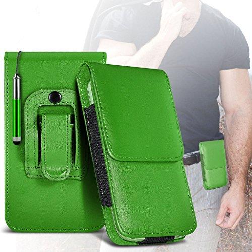 hülle Tasche (Grau) Wiko Lenny 2 hülle Tasche (Abmessungen 7,3 x 0,9 x 14,5 cm) Kasten hülle Tasche (PU) Leder-Gürtelclip-Beutel-Kasten-Schlag-Abdeckung Holster mit Magnet + Auto-Ladegerät Mit dem i-T Belt Flip+ stylus pen (Green)