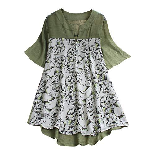 - HEJANG Women's Summer Plus Size Loose Linen Casual Short Tops Button Blouse Sleeveless Vintage Solid T-Shirt (XXL, Green2)