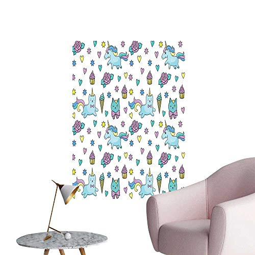 Unicorn Cat Wall Mural Wallpaper Stickers Girls Pattern with Hearts Stars Flowers Ice Cream Cute Funny Hall Fashion Light Blue Lavender Yellow W16 x H20]()