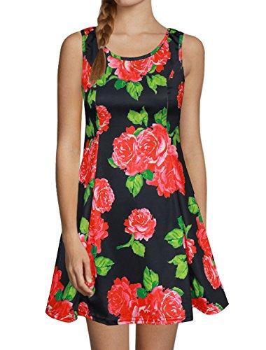 モッキンバード悲劇的な予約uxcell 花のプリントサンドレス 細身 タンクドレス ノースリーブドレス スクープネックドレス