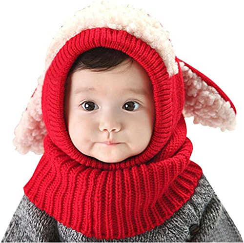 Cute Baby Kids Girls Boys Warm Winter Stretchy Sheep Cap Hat Beanie (Red) ()