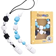 AmaizngM Pacifier Clip with Silicone Teething Beads Bpa Free,Chewable Pacifier Holder for Baby Teether, Soothie, Teething Toy,Pacifier,Boys,Girls,Drool Bibs,Baby Birthday Shower Gift Set of 2