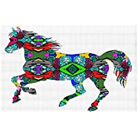 DiaNoche Woven Area Rugs, Kitchen Mats, Bath Mats by Susie Kunzelman - Horse Rainbow 1 Large 4x6 Ft