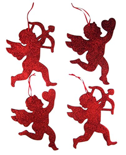 Assorted Glitter Cupid Angel Hanging Decorations, Set of 4