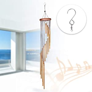 SEISSO Wind Chimes Gifts, 36'' Large Wind Chimes for Outside Outdoor with 18 Aluminum Tubes for Home Decor, Perfect for Mom, Christmas, Thanksgiving, Housewarming, Birthday Gifts with 1 Pack Hook