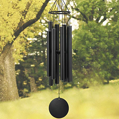 Astarin Wind Chimes Outdoor Large deep Tone, 38 Inch Memorial Wind Chimes with 8 Tuned Tubes,Outdoor Wind Chime for Garden, Yard, Patio and Home Decoration (Black) ()