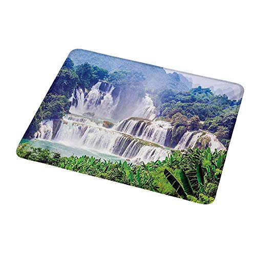 Leaf Waterfalls Copper (Non-Slip Rubber Mouse Pad Nature,Waterfall Exotic Tropical Leaves Natural Swimming Pool Water Picture,Forest Green Pale Blue,Customized Desktop Laptop Gaming Mouse Pad 9.8