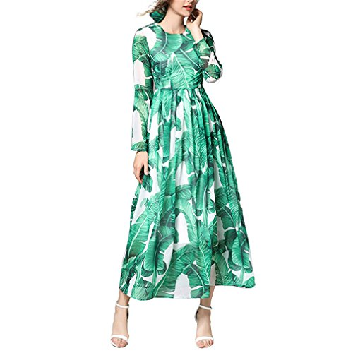 Palm Leaf Print Dresses for Women Full Sleeve Evening Party Robe Beach Dress Green - Leaf Full Print Length