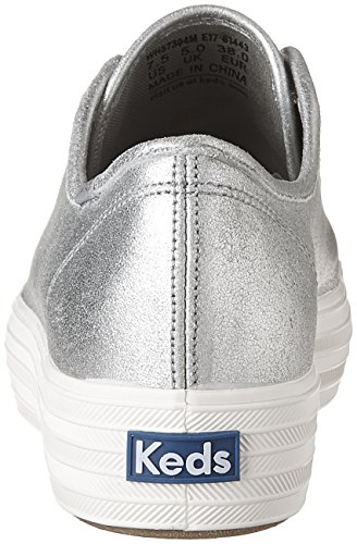 Silver Metallic Women's Keds Suede Fashion Triple Kick Sneakers 81wHTCan