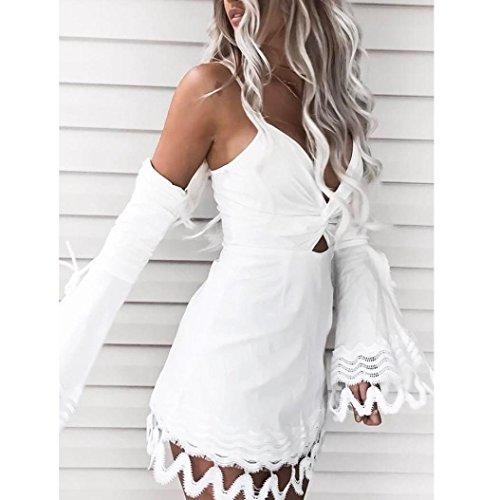 Longra❤ღ☀Por encima de la rodilla mini boho dama de encaje fiesta de hombro mini vestido Blanco
